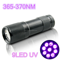 9 Lamps 365NM-410NM Blacklight Aluminum Alloy UV Curing Flashlight for Urine Detecting,Jewelry and Fluorescer Detecting
