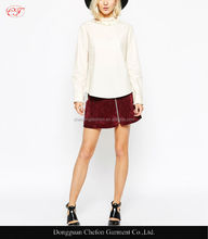 Woman frill spring new design normal blouse cotton high neck woman's autumn blouse