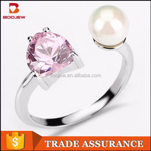 2015 top sale fashion elegant latest pearl ring design with pink heart shape zircon adjustable open design pearl ring for women