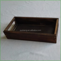 Tenon Design Wooden Rectangle Serving Tray with Two Handles
