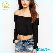 New Design Ladies Sexy Cropped Off Shoulder Tops With Long Sleeves