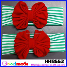 christmas Striped baby hair headbands accessories elastic girl red bow