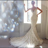 2015 Vestidos De Novia Long A Line Crystal Beading Tulle Wedding Dresses Full Sleeve Bridal Dress