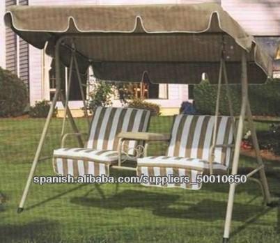 Balanc n columpio doble de acero y poli ster exterior for Columpio balancin jardin