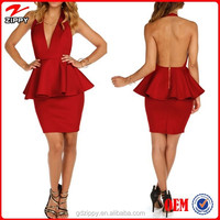 Sexy Red Deep V-Neck Open Back Ladies Fashion Dress Peplum Dress /Sexy Pictures Of Girls Without Dress