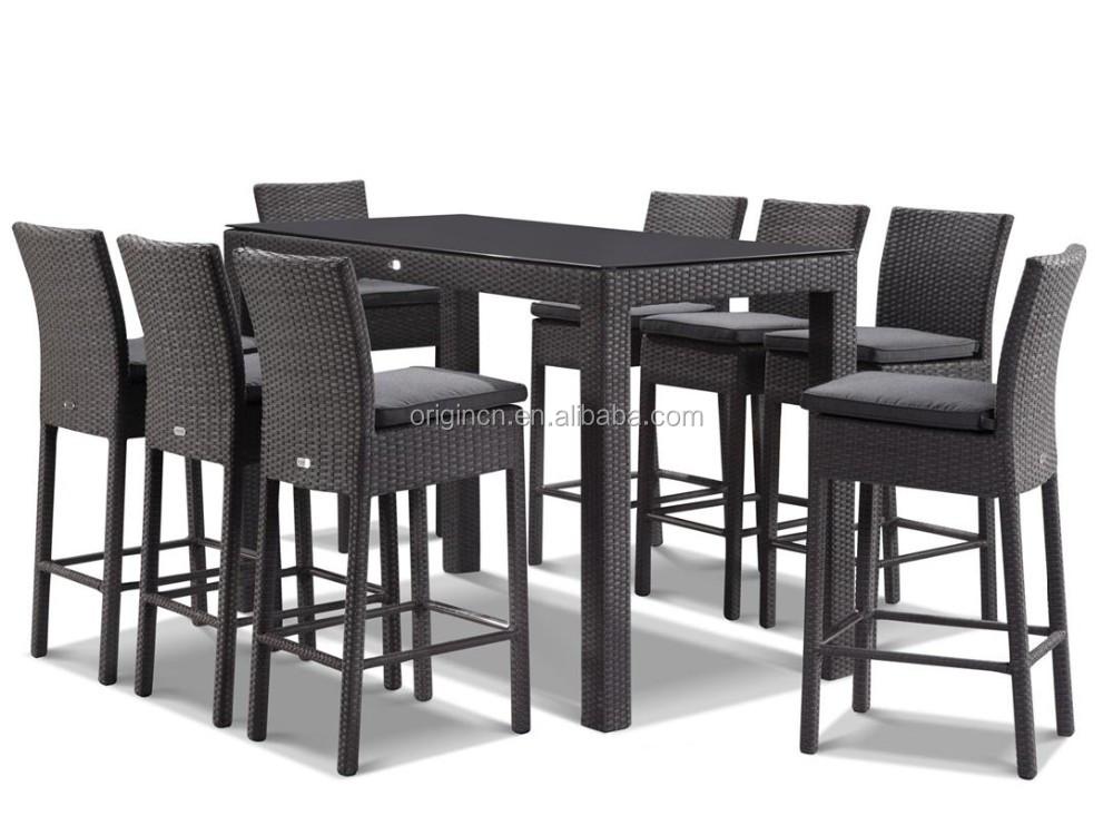 9 pi ce plage ext rieure pub utilisation en plastique for Table et chaise en rotin