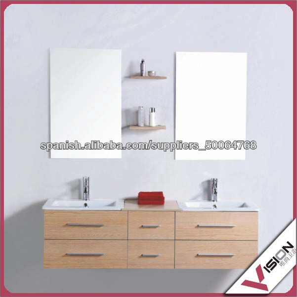 Lavabos Dobles Para Baño:doble lavabo madera tocador del baño,muebles de baño-Tocadores de