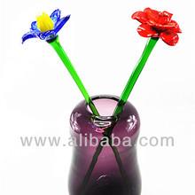 Venta al por mayor fuente del jardín de la decoración barata artificial de la flor de vidrio rosa de san valentín , hechos a mano de cristal recuerdos de tallo largo cristal flores