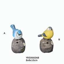 set 2 garden decoration solar power bird caller with shadow control, and resin stone with flowers