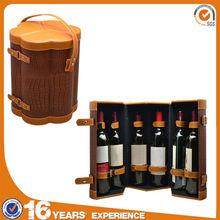 6 bottle wine holder case bag,flower shape faux leather gift wine box with belt