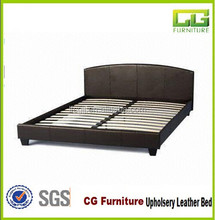 Black Design Full Size Modern Bedroom Furniture Faux Leather Pu Bed from China Manufacturer
