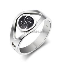 Stainless Steel Tai Ji Ring Female Symbol Ring,Silver,Wide 3.8mm