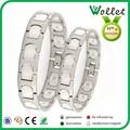 Wollet venta al por mayor nuevo diseño pulsera par de acero inoxidable conjunto blanco de la joyería de cerámica y zirconia venta