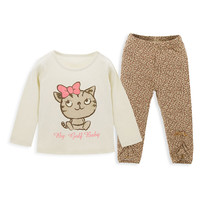Trend Fashion Active Leopard Lines With Little Cat Printing Tshirt Two Piece Child Girl Clothing Set