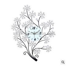 Tree shape metal wall clock with flower sales in 2015 as family gifts with 96 shiny beads
