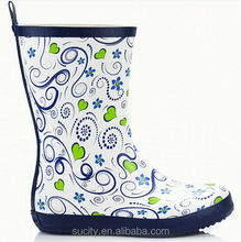 elegant floral ladies rubber rain boot with floral pattern