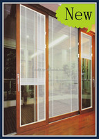 aluminium glass sliding door with built in louvers