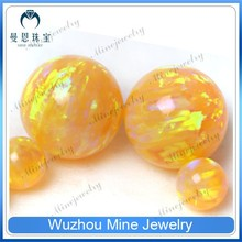 smooth sphere fire opal gems OP#28 yellow fake opal stone