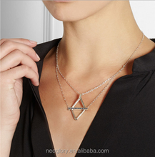 New Fashion Shiny Gold Triangle Pendant Geometry Shape Black Crystal Glass Stones Necklace