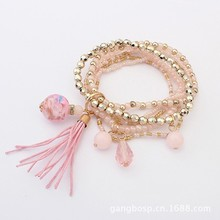 Six color resin acrylic diamond beads tassels bracelet