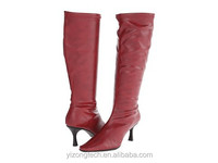 JUSITY 2015 Fashion rubber outsole red ladies knee high winter boots with special heel