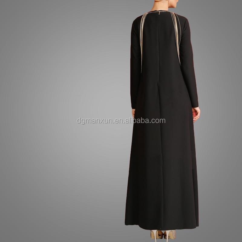 Fashion Islamic muslim evening dress for ladies black abaya in dubai 2017 (4).jpg