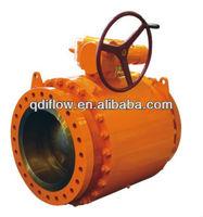 API 6D gear operated type ball valve trunnion ball design