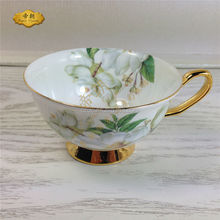 Chinese style fine bone china Golden & flower decal tea cup and saucer set