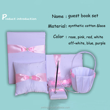 Hot sale a set of six things wedding favor guest pen & books/flower girl basket/ring pillow/garter