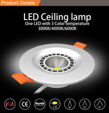 COB led downlight led ceilling led downlight One LED With 3 Color Temperature