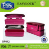 Korean plastic lunch box with stackable double layers and cooler bag