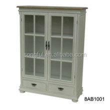 living room furniture white wooden glass display cabinet table