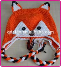 crochet children baby fashion hand knitted fox animal hat