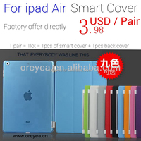 For apple ipad Smart Cover Slim Magnetic PU Leather Stand Cases Covers wake sleep For iPad Air1 air2 mini4 123 with Back case