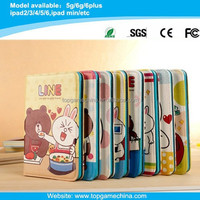 Cute Line icon cartoon character leather case for iPad Mini smart case