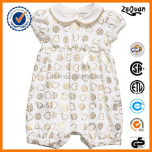 Baby clothes supplier 2015 new design new born Baby Girls Cotton Romper with Gold Print