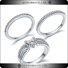 925 Sterling Silver Female Wedding cz Ring Set