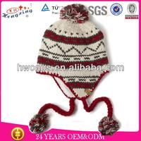 100 Acrylic Cheap Knitted Cool Beanies,Cute Crochet Beanie Hat With Braid