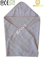 wholesale Chequered Soft Cotton Kids Hooded Baby towel