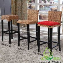 China manufacturer vintage rattan bamboo wooden high chair bar stool