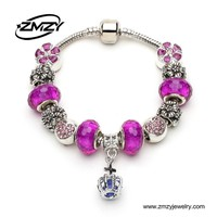 New Wholesale Murano Glass Bead Charm Bracelet Silver Plated Metal Bracelet With Crown Fashion Jewelry