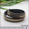 Long black leather jewelry cuff link bracelets cuff bracelet