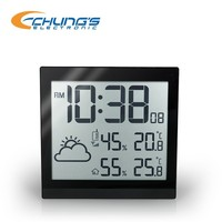 2015 New square radio controlled wall clock with temperature sensor