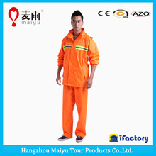 100% polyester with pvc coated orange or yellow waterproof breathable rain suit