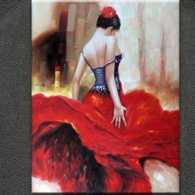 Palette knife oil painting dancing woman painting thick oil and texture
