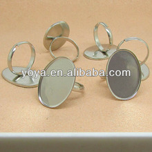 JFS1012 Dull silver plated oval blank ring setting,blank ring bezel for 18x25mm cabochon