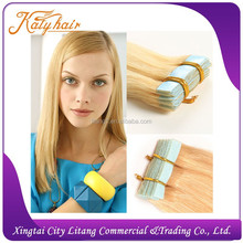High quality tape type hair extension100% virgin russian Hair weaving blonde and silky straight