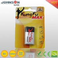 9v 6F22 zinc carbon battery