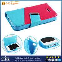 Dual color flip leather cover case for iphone 4s,for iPhone 4s case