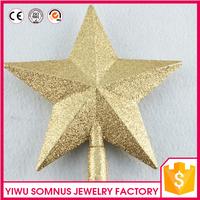 Cheap Wholesale 6 Inch Fancy PVC Christmas Tree Ornaments Top Stars